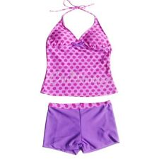 Girls Kids Polka Dots Halter Tankini Set Swimsuit Swimwear Bathers Suit SZ 5-16