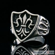 Men's Rocker Cowboy Biker Bling 316L Stainless Steel Fleur de Lis Ring R4V39