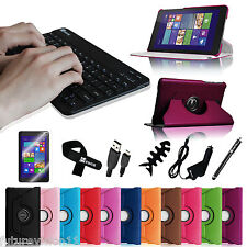 Bluetooth Keyboard + Leather Cover Case for Dell Venue 8 Pro Windows 8.1 Tablet