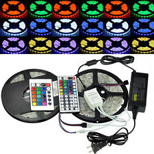 5050 5M/10M RGB 300/600 LED SMD Strip Light Adapter 24/44 IR Remote Waterproof