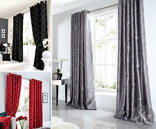 Faux Silk Luxury Curtains - Embroidered Ready Made Lined Eyelet Curtain Pair
