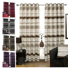 CHENILLE & FAUX SILK CURTAINS Luxury Striped Eyelet Ring Top Fully Lined Curtain