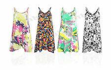 Womens Ladies New Tunic Floral Summer Tropical Swing Strappy Floating Dress Top