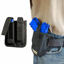 New Barsony Ambidextrous Pancake Holster + Dbl Mag Pouch Glock Compact 9mm 40 45