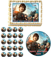 HOW TO TRAIN YOUR DRAGON 2 Edible Cake Topper Cupcake Decoration Birthday Party