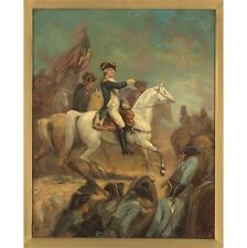 "AMERICAN ""Portrait of George Washington on Horseback"" BATTLE leader flag CANVAS"