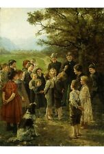 "THEODOR KLEEHAAS ""Children's Games"" PLAYING bumps boy girl dog rural NEW CANVAS"