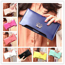New lady Women Soft Leather Bowknot Clutch Wallet Long Card Purse Handbag e2104