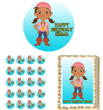 IZZY JAKE And The Neverland Pirates Edible Birthday Cake Topper Cupcake Image