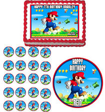 SUPER  MARIO Edible Birthday Cake Topper Cupcake Image Party Decoration