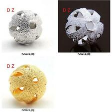 n262m43 20pc Frosted Cut Hollow 6mm 8mm 10mm 12mm Round Finding Spacer Beads New