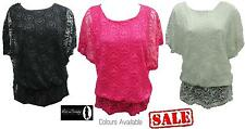 NEW WOMENS ELASTICATED WAIST FLORAL LACE CROCHET BATWING LADIES TOP JUMPER 8 -14