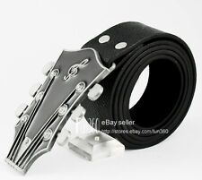 Mens Boys Guitar String Tuner Rock Roll Music Note Band Buckle Leather Belt NEW