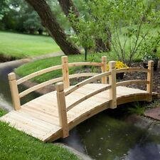 Outdoor Unfinished Fir Wood Garden Bridge with Rails 4-Ft, 6-Feet, or 8-Foot NEW