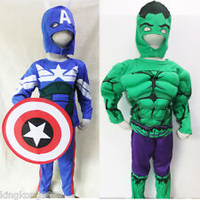 W033/39 Kid Boy Costume Captain America Winter Soldier Steve Rogers Hero 2-7 Yrs