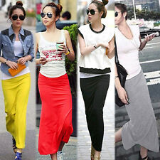 FASHION WOMENS MAXI SKIRT COTTON FULL LENGTH HIGH WAIST LONG STRETCHY DRESS B84K