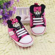 Toddler Baby Girl 3D Minnie Mouse Crib Shoes Sneakers Size 0-6 6-12 12-18 Mths
