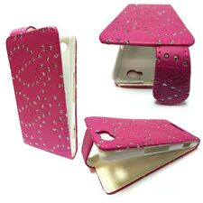 BLING GLITTER HOT PINK PU LEATHER FLIP CASE COVER FOR SONY XPERIA M C1904