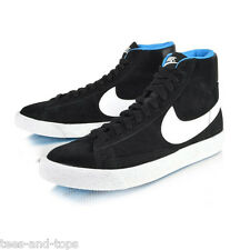 JUNIORS / WOMENS NIKE Blazer Mid Vintage Trainers Black White Blue SIZE UK 3-5.5