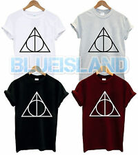 THE DEATHLY HALLOWS T SHIRT TRIANGLE TUMBLR HARRY POTTER BOOK VOLDEMORT UNISEX