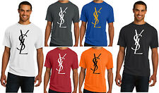 New YSL Mens TShirt Yves Saint Laurent Cologne Black White Gold S M L XL 2XL 3XL