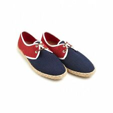Veras Shoes Navy and Red Santander Espadrille Style Pumps