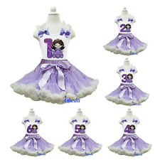NEW Lavender Cream Pettiskirt Embroidered Sofia Princess 1st-6th Birthday Dress