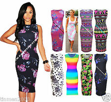 New Womens Sam Faiers Celebrity Midi Dress Sleeveless Rainbow Bodycon Plus Size