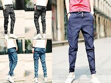 Mens Harem Pants Trousers Hip Hop Tapered Drop Crotch Cuffed Jeans Jogger Casual