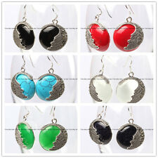 25mm Coin Gemstone Beads Tibetan Silver Marcasite Hook Dangle Jewelry Earrings