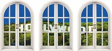 Huge 3D Arched Window Hollywood Sign View Wall Stickers Film Decal Wallpaper