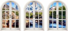 Huge 3D Arched Window Enchanted River Mountain View Wall Stickers Film Decal