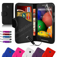 Book Flip Wallet Leather Case Cover For MOTOROLA Moto E Free Screen Protector