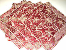 "WHOLESALE LOT DOILIES 2PC INDIAN ZARDOZI ZARI BEADED EMBROIDERED10"" NEW SEQUINED"