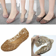 New Women Crystal Glitter Plastic Jelly Hollowed Flat Sandals Beach Ballet Flats