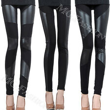 Sexy Lady Stitch Stretchy Faux Leather Back Tight Leggings Skinny Jeggings Pants