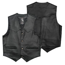 Cruiser Leather Biker Vest Vintage Apparel Motorcycle Scooter Waistcoat