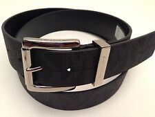 MICHAEL KORS Women's Belt Black MK Signature w/ Silver Buckle Sz S M L XL New