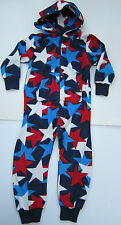 EX-NEXT FLEECE RED WHITE & BLUE STAR ALL IN ONE ONESIE PYJAMAS AGES 3-16 BNWOT