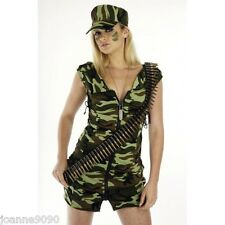 WOMENS ARMY GIRL COMBAT BABE SEXY HEN DO MILITARY ARMED FANCY DRESS COSTUME