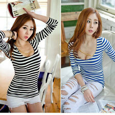 NEW Fashion Low-cut Women's Long Sleeve Stripe Casual Tops T-shirt Blouse S M L