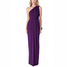 Long Draped One Shoulder Jersey Formal Gown Evening Dress Deep Purple