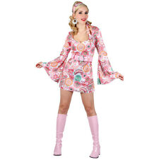 Ladies Retro Groovy  60s Go Go Mini Pink Flower Fancy Dress Halloween Costume