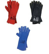WELDING LEATHER GLOVES GAUNTLETS WELDERS RED & BLACK 1,6,12 pairs. Size 11 large