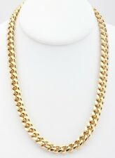 18K Gold Overlay Curb Cuban Link Chain Necklace 9mm Lifetime Warranty
