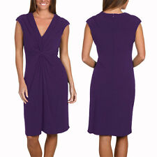 Alluring Twist Front Sleeveless Jersey Cocktail Party Day Night Dress Lavender
