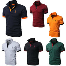 Men's Fitted V-Neck Casual Shirt T-Shirts Tops Short Sleeve Polo Shirts 7 Colors