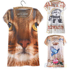 Vintage Summer Short Sleeve Cat Graphic Printed T Shirt Tee Blouse for Women