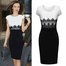 Women's Celeb Lace Wear to Work Evening Cocktail Party Bodycon Slim Pencil Dress