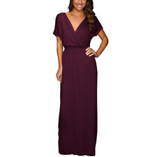 Short Sleeve Long Maxi Jersey Cocktail Party Evening Dress Eggplant
